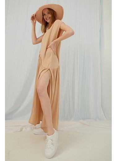 Modaset Modaset Bel Kesimli YırtmaÇlı Uzun Kadın Elbise Kahve